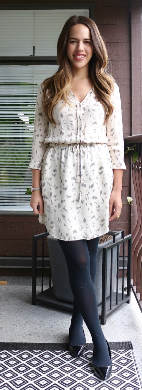 "Jules in Flats - Snow Leopard Silk Shirt Dress Spring Outfit (Artizia Babaton ""Bennett"" Dress)"