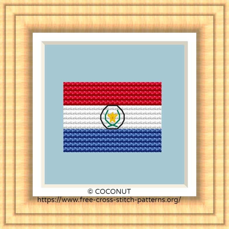 NATIONAL FLAG OF PARAGUAY CROSS STITCH CHART