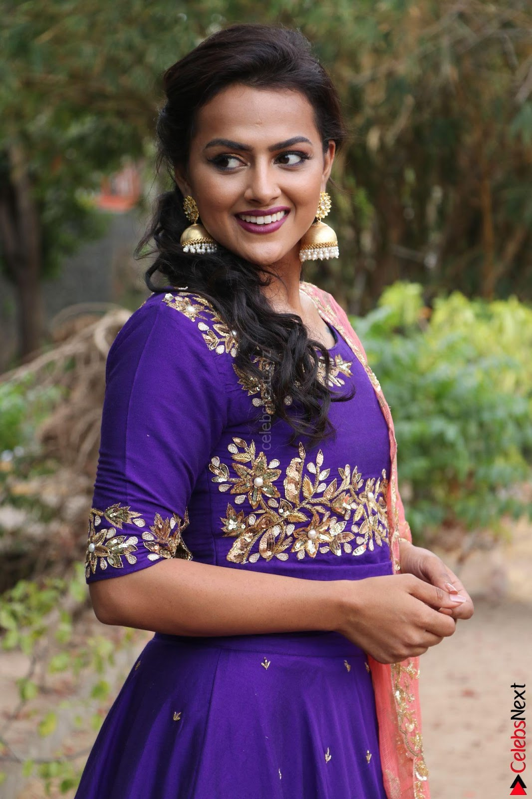 Actress Shraddha Srinath in Purple Chania Choli Cute Pics ~ CelebsNext Exclusive
