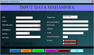 Project Input Data Mahasiswa Menggunakan Visual Basic 6.0