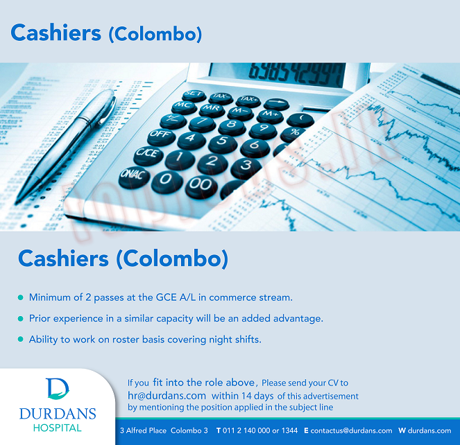 Vacancy for Cashiers (G.C.E. A/L) - Jobs Find