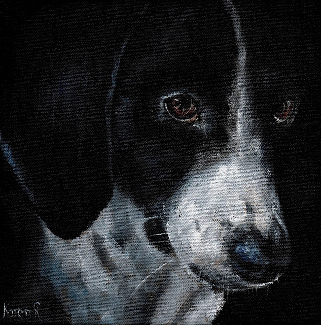 Portrait of a pointer, an oil painting