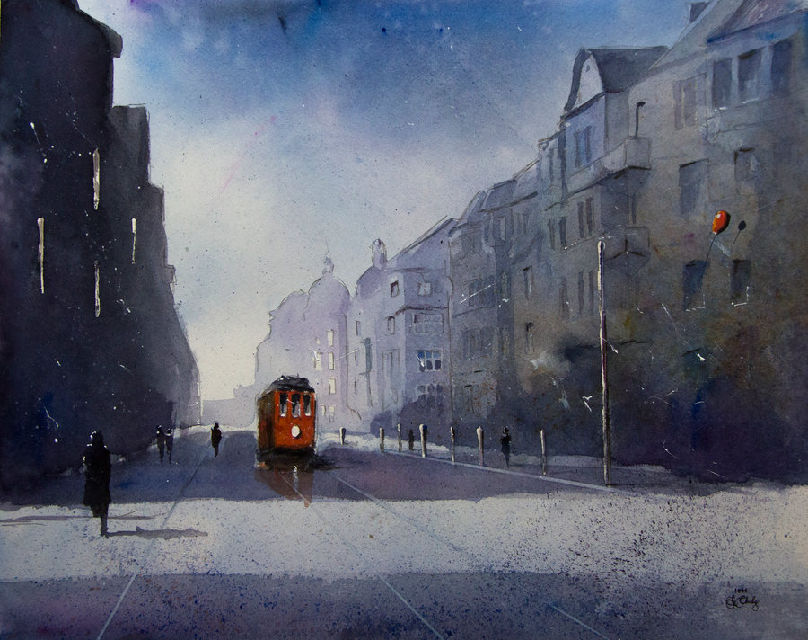 17-The-Kosciuszki-Street-in-Katowice-Grzegorz-Chudy-sanderus-Dreams-Started-with-Watercolor-Paintings-www-designstack-co
