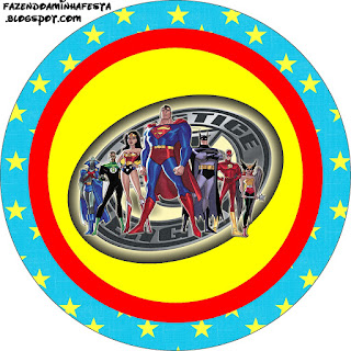 Justice League, Toppers or Free Printable Candy Bar Labels.