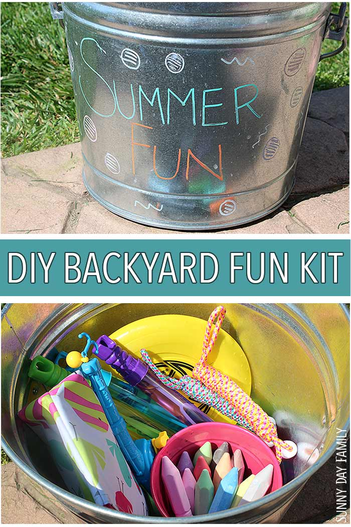 Everything you need for backyard summer fun in this cute DIY Backyard Fun Kit! Perfect for backyard parties, summer play dates, or just family fun outside, this DIY bucket filled with summer fun essentials (and a sweet treat too) makes summer days perfect!