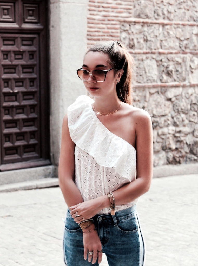 one shoulder lace top fashion blog 2017