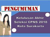 Revisi Hasil Pengumuman Kelulusan Akhir Seleksi CPNS Kota Surakarta 2018