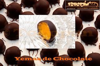 Yemas de Caravaca chocolate bombón
