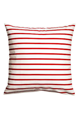 Red Stripe Cotton Cushion H&M
