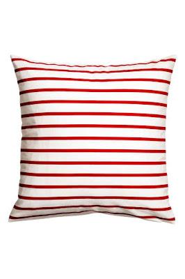 Red Stripe Cotton Cushion H&M