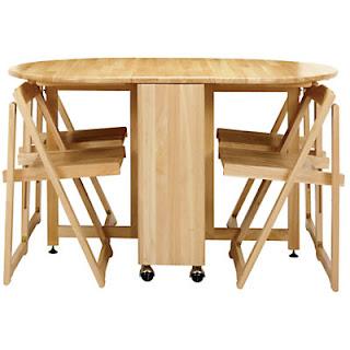 Ghế xếp gọn dưới bàn xếp khi mở hai cánh, bàn thực tế có ngăn kéo