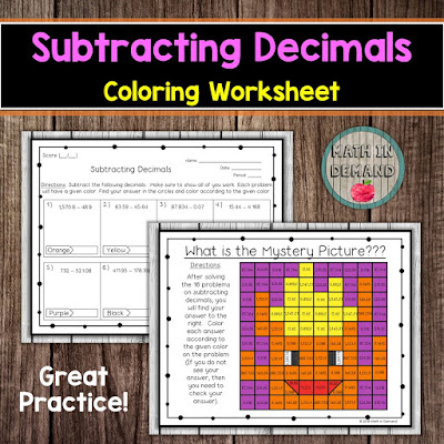 Subtracting Decimals Coloring Worksheet