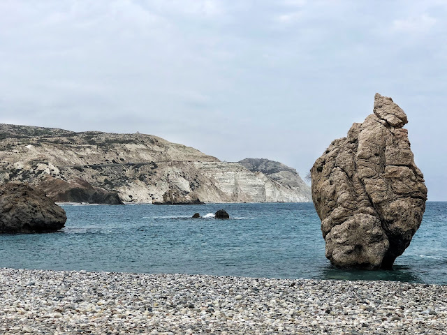 The beach and sea at Aphrodite's Rock in Cyprus