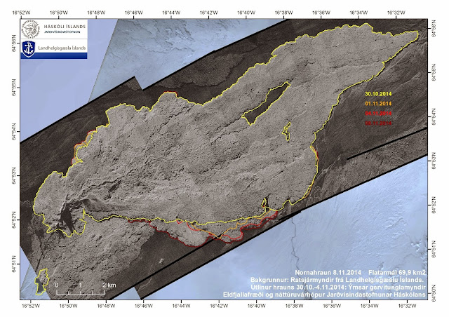 Extension du champ de lave de l'éruption du volcan Bardarbunga dans la plaine d'Holuhraun, 12 novembre 2014