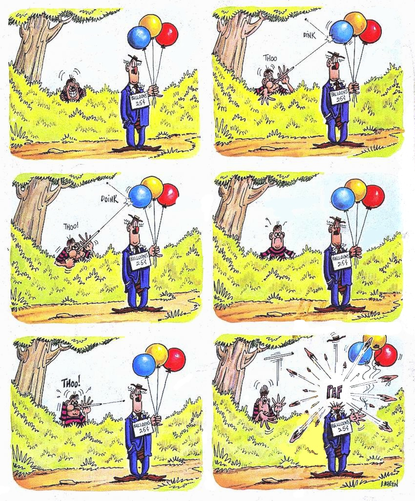 a Don Martin cartoon for MAD magazine, balloons and pea shooter