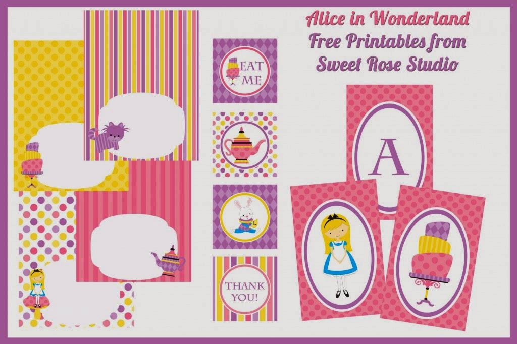 Tierno Kit de Alicia en el País de las Maravillas Bebé para Imprimir Gratis.