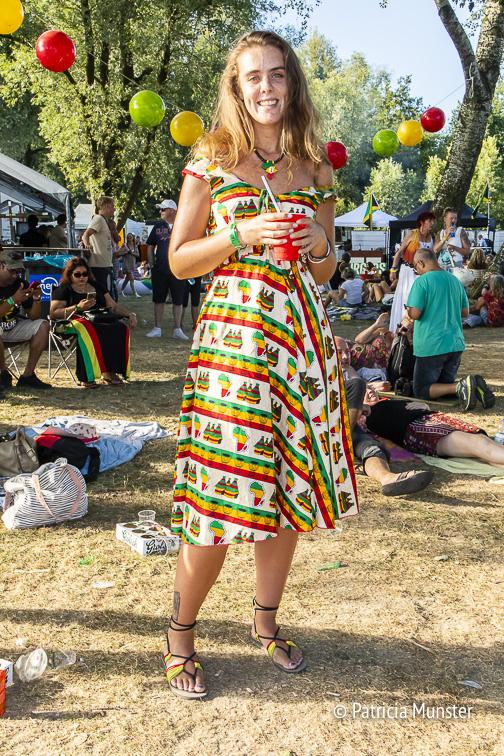 Chayenne in an African print dress at Rastaplas Zoetermeer
