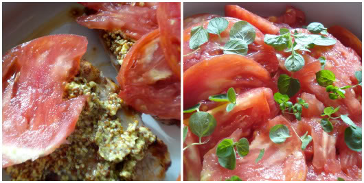 top with fresh tomato slices and oregano