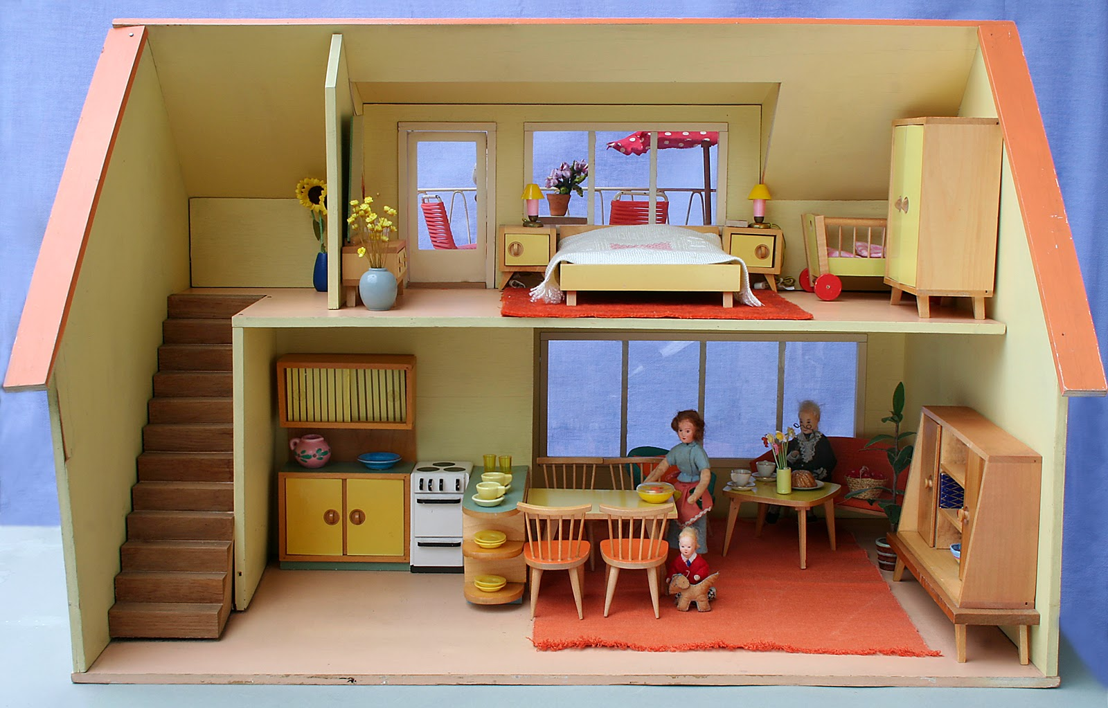 diepuppenstubensammlerin puppenhaus mit teich 1959 bodo hennig dolls house with a pond. Black Bedroom Furniture Sets. Home Design Ideas