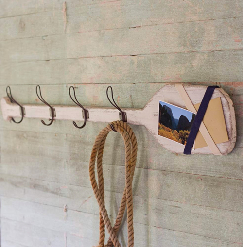 Wood Oar Paddle Coast Wall Rack Hooks