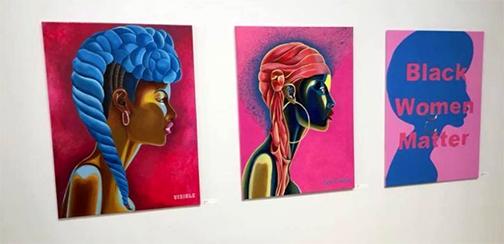 a set of three paintings of black women by Landrum