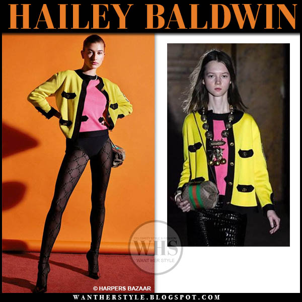 Hailey Baldwin in yellow gucci cardigan with bright pink top harpers bazaar editorial 2019