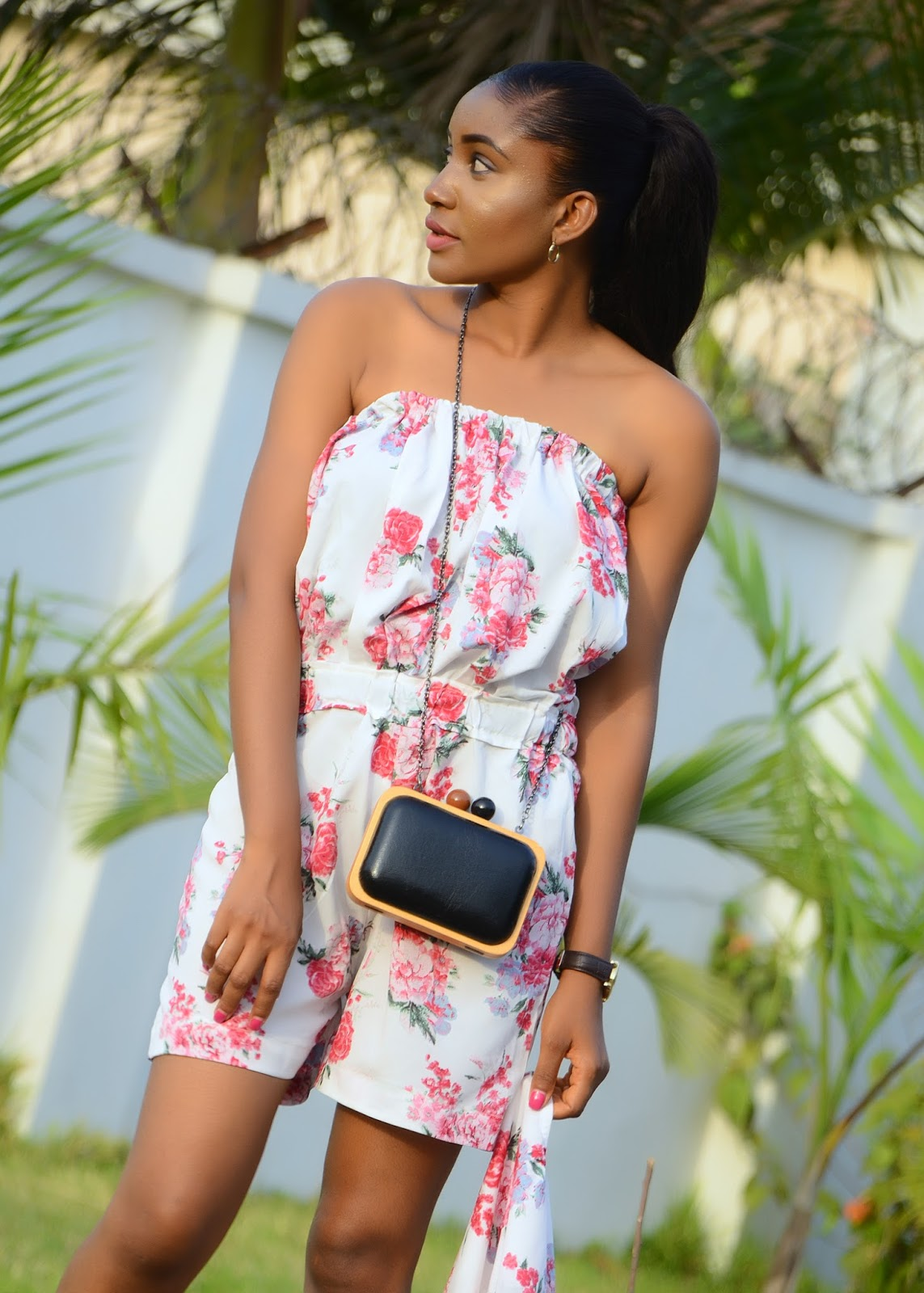 florals, romper, clutch bag