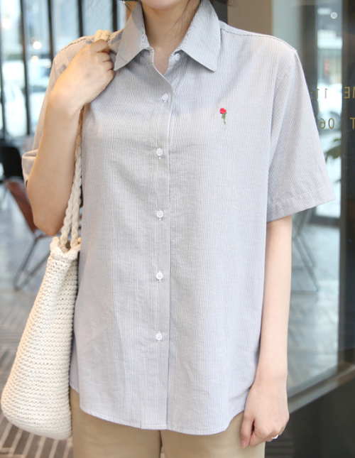 Striped Rose Embroidery Button-Down Shirt