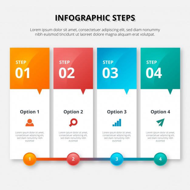 Colorful infographic template in banner style Free Vector