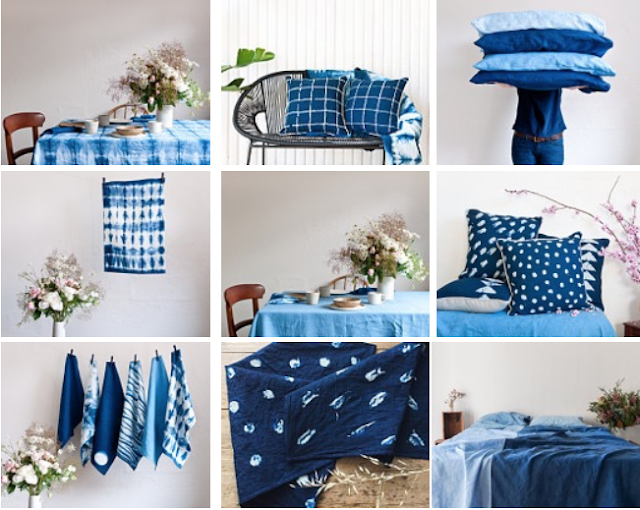 hand dyed Japanese shibori linens and towels in blue and white