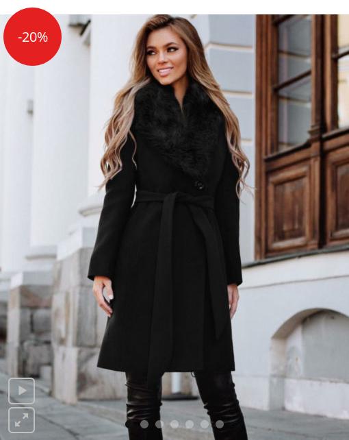 Palton dama negru lung cambrat cu guler cu blana din stofa Vivienne