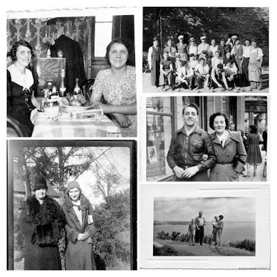 Album photos noir et blanc : Couples et Groupes.