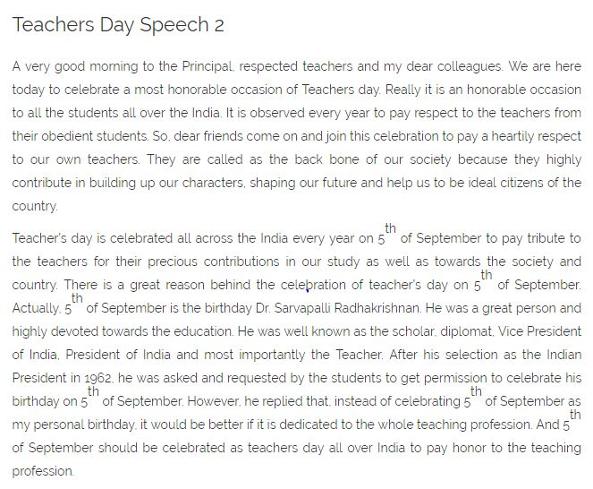 Speech Sample Sample Teachers Day  Short Speech Essay