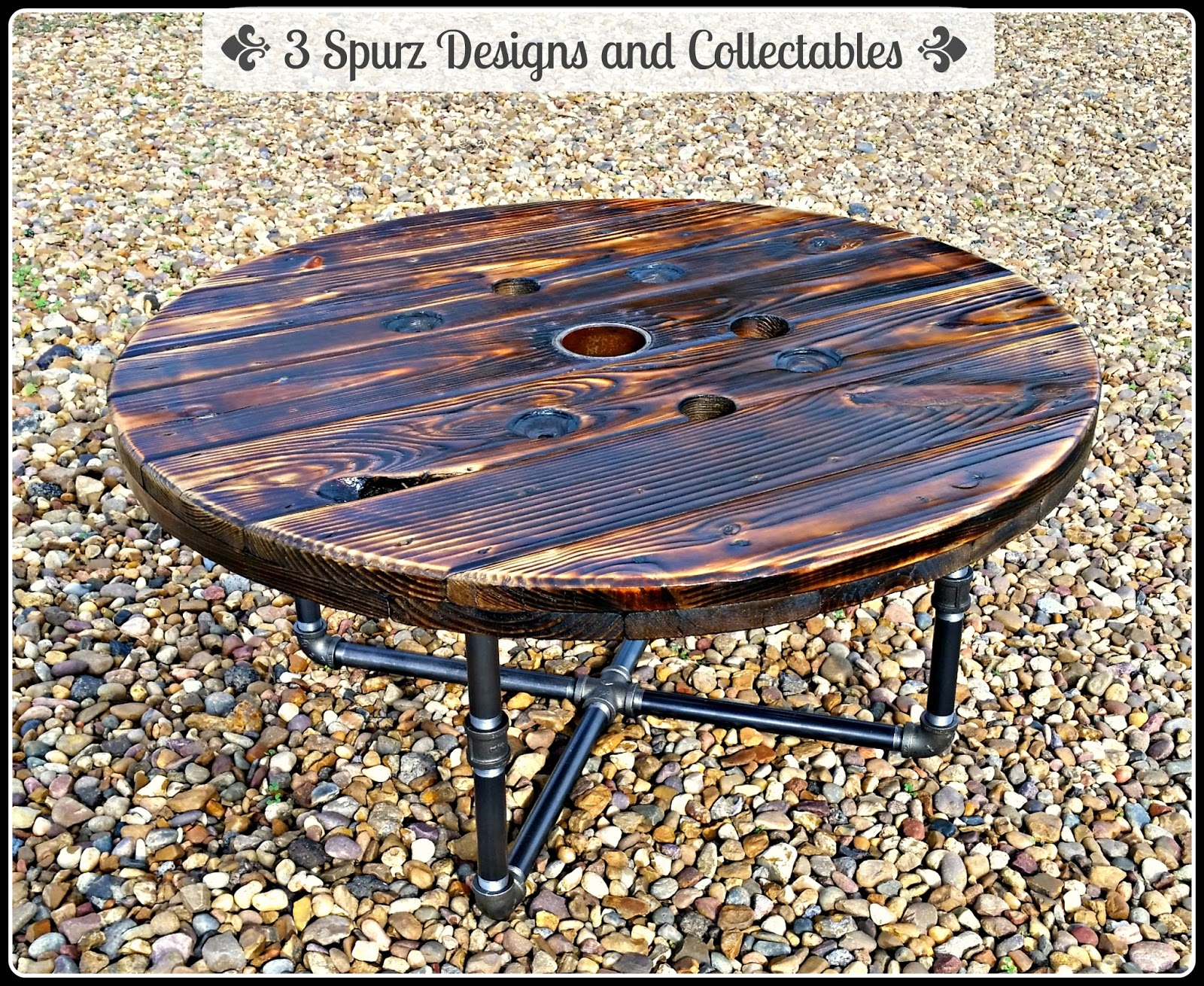 What Says Better Than A Wooden Spool Top Burned To Bring Out The Grain With Pipe Legs