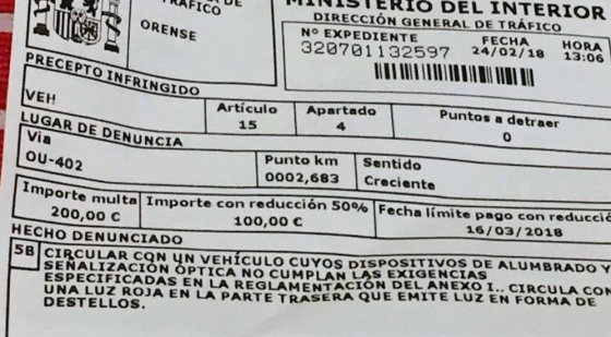Fine for using flashing bicycle lights in Spain