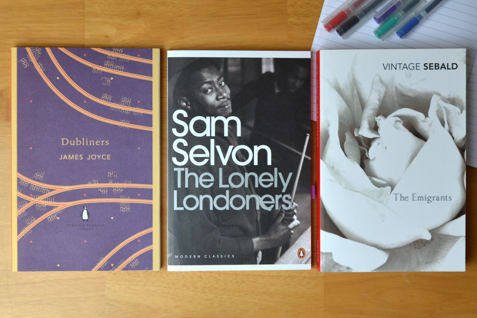The Lonely Londoners by Sam Selvon, Dancing at Lughnasa by Brian Friel and The Emigrants by W. G. Sebald.