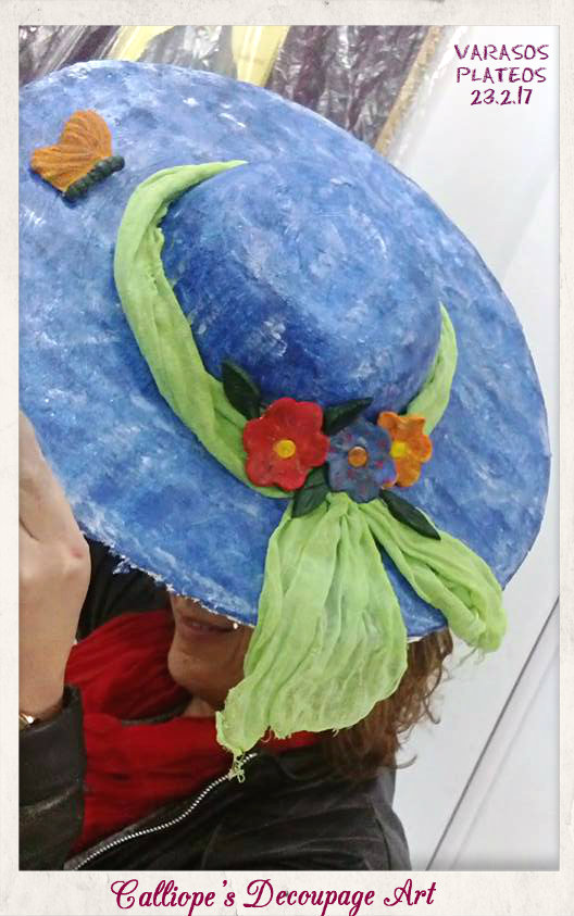 χειροποίητα διακοσμητικά καπέλα, σεμιναρια ντεκουπαζ θεσσαλονικη,σεμιναρια decoupage βαρασος πλατυ θεσσαλονικη,χειροποιητα καπελα με ντεκουπαζ