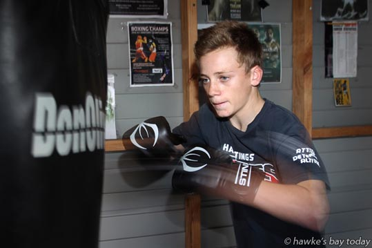 Sam Nicol, 15, Taradale, Napier, off to Brisbane for the Golden Gloves boxing. photograph