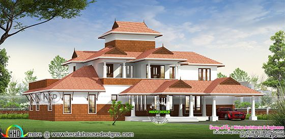 Traditional style Kerala home design 5 bedrooms