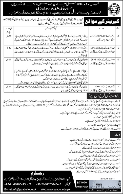 Latest Jobs announced in Shaheed Zulfiqar Ali Bhutto University of Law Today Feb 2018