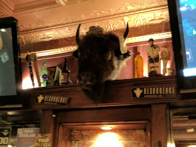 Stuffed buffalo head at Tap House Pub and Grill in Downtown Buffalo