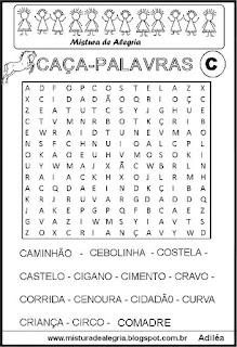 Caça-palavras com letra C