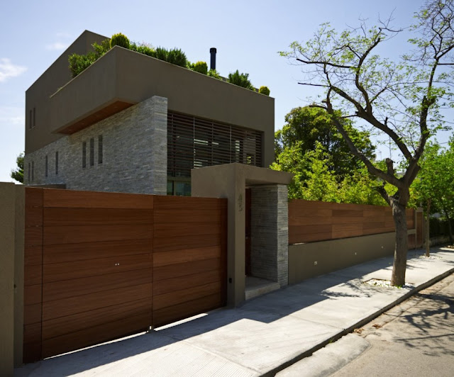 Modern home and the street gate