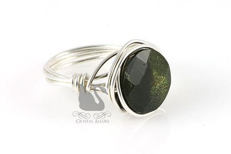 Green Goldstone Coin Bead Ring (R105)