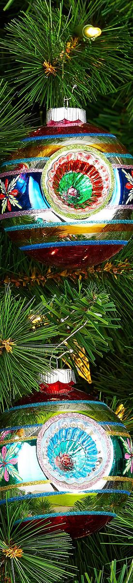 Radko Shiny Brite Christmas Confetti Collection Rounds with Triple Reflectors 4-Piece Ornament Set
