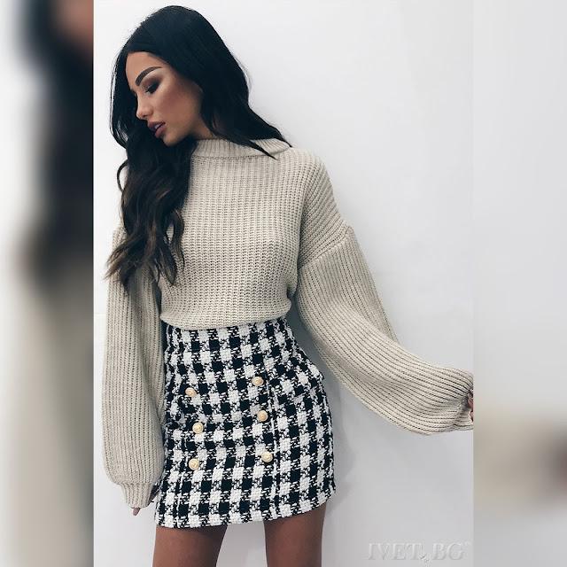 Ψηλόμεση μεσάτη κοντή άσπρη-  μαύρη φούστα SOARA