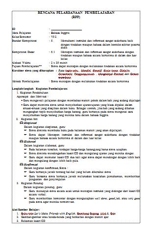 RPP Berkarakter Bahasa Inggris SD/MI Kelas 6 Terbaru