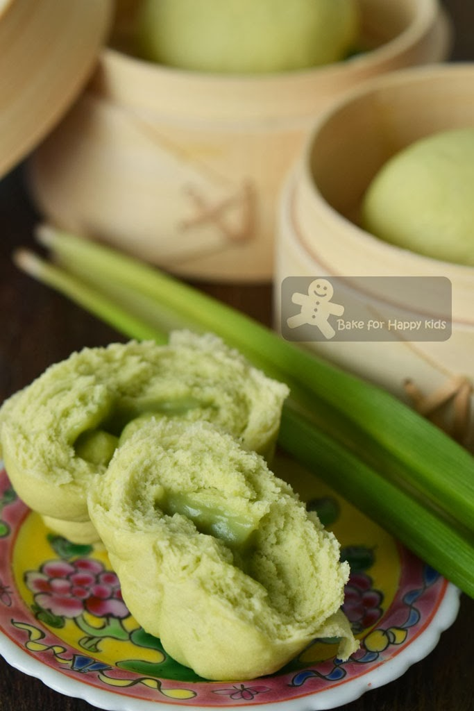 Bake for Happy Kids Pandan Kaya Bao Pandan Kaya Steamed Buns
