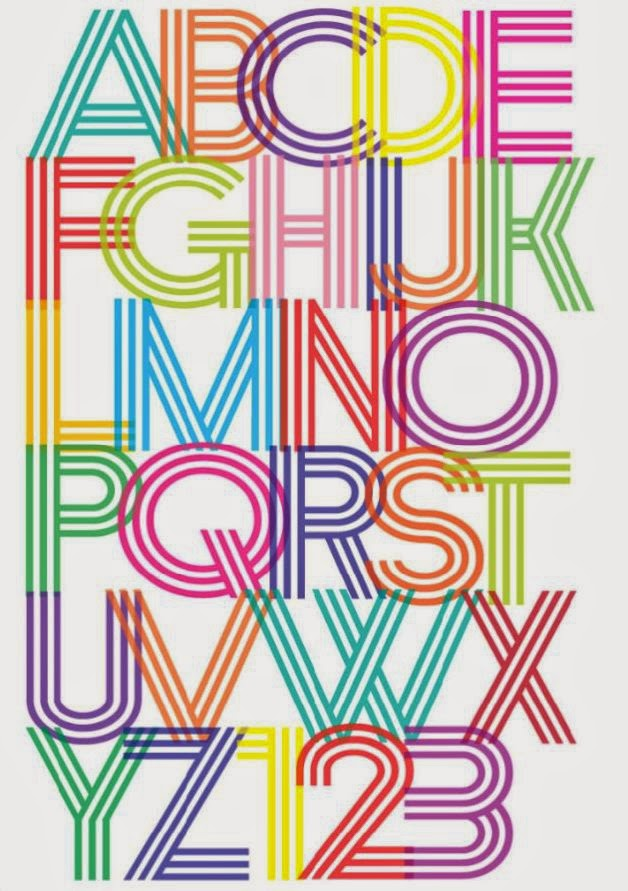 colourful 70s disco font