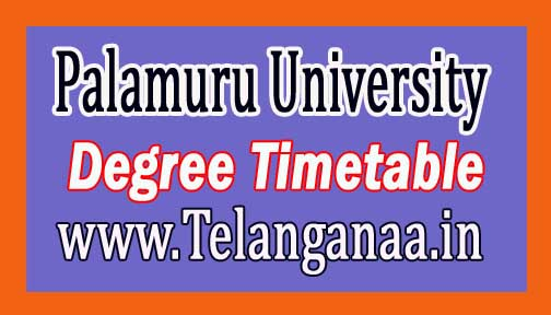 Palamuru University PU Degree Supply Timetable 2016